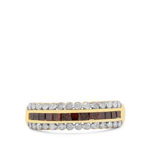 1ct Red & White Diamond 9K Gold Ring