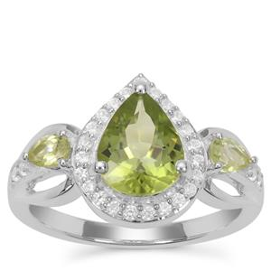 Peridot Ring with White Zircon in Sterling Silver 2.25cts