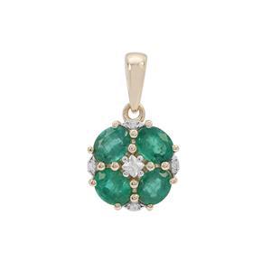 Kafubu Emerald Pendant with White Zircon in 9K Gold 1.45cts