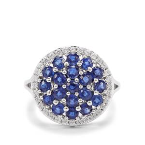 Size P to Q Daha Kyanite & White Zircon Platinum Plated Sterling Silver Ring ATGW 3.71cts