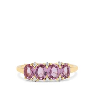 Pink Sapphire Ring with White Zircon in 9K Gold 1.70cts