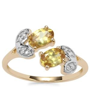 Ambilobe Sphene Ring with Diamond in 9K Gold 0.97ct