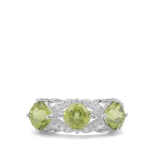 Red Dragon Peridot Ring with White Zircon in Sterling Silver 3.62cts