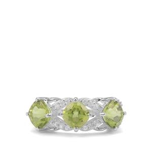 Red Dragon Peridot & White Zircon Sterling Silver Ring ATGW 3.62cts