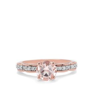 Zambezia Morganite & White Zircon 9K Rose Gold Ring ATGW 1.37cts