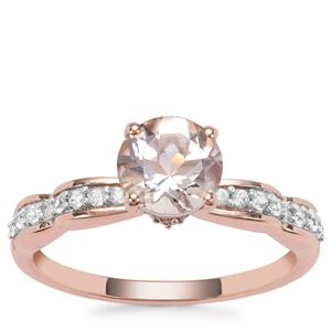 Zambezia Morganite Ring with White Zircon in 9K Rose Gold 1.37cts