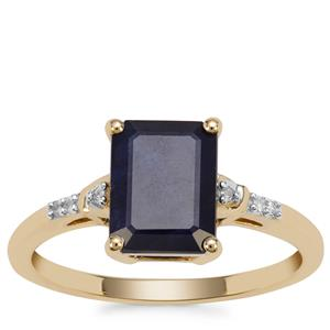 Ethiopian Sapphire Ring with Diamond in 9K Gold 2.63cts