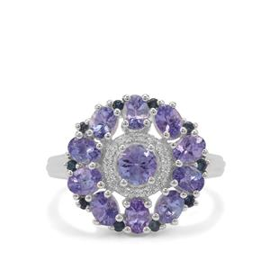 AA Tanzanite, Blue Sapphire & White Zircon Sterling Silver Ring ATGW 2.61cts