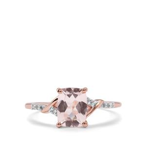 Alto Ligonha Morganite Ring with Diamond in 9K Rose Gold 1.31cts