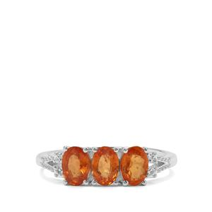 Mandarin Garnet Ring with White Zircon in Sterling Silver 2.08cts