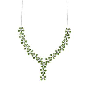 Chrome Diopside & White Topaz Sterling Silver Necklace ATGW 16.26cts