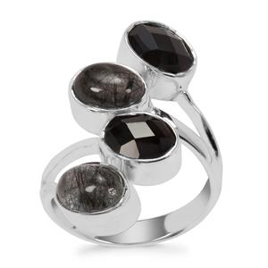 Black Rutilite Ring with Black Onyx in Sterling Silver 6cts