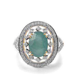 Grandidierite Ring with Diamond in 18k Gold 3.69cts