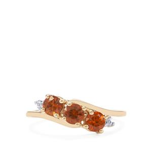 Ratanakiri Cinnamon Zircon Ring with White Zircon in 10k Gold 1.21cts