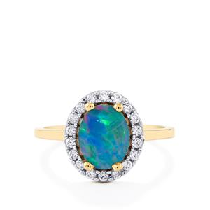 Boulder Opal Ring with White Zircon in 9K Gold