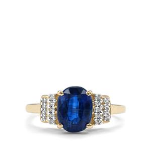 Daha Kyanite Ring with White Zircon in 10k Gold 2.48cts