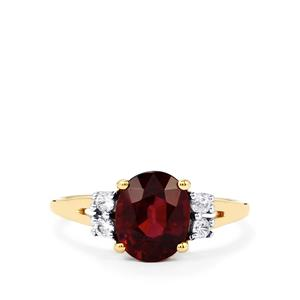 Malawi Garnet Ring with White Zircon in 10k Gold 2.49cts