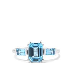 2.29ct Swiss Blue Topaz Sterling Silver Ring
