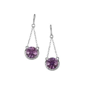 Ametista Amethyst & White Topaz Sterling Silver Cupid Earrings ATGW 3.91cts