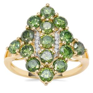 Green Diamond Ring with White Diamond in 9K Gold 2.70ct