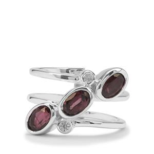 Burmese Pink Spinel Ring with White Zircon in Sterling Silver 2.02cts