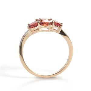 Winza Ruby Ring with White Zircon in 10k Gold 1.90cts