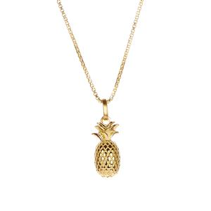 Pineapple Slider Necklace  in Gold Tone Sterling Silver 6.60g
