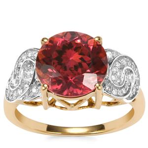 Congo Rubellite Ring with Diamond in 18K Gold 3.96cts
