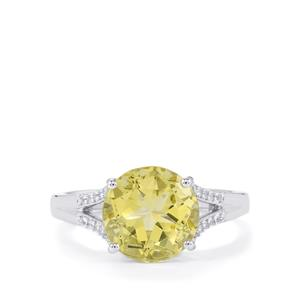 Green Gold Quartz & White Topaz Sterling Silver Ring ATGW 4.00cts