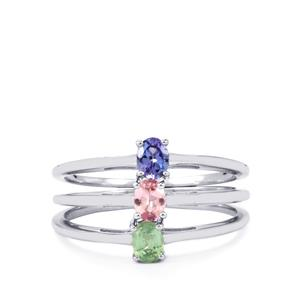Pink Spinel, Nuagaon Kyanite Set of 3 Rings with AA Tanzanite in Sterling Silver 0.62cts