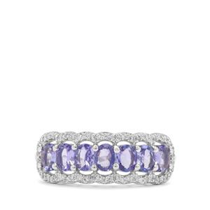 AA Tanzanite Ring with White Zircon in 9K White Gold 1.51cts