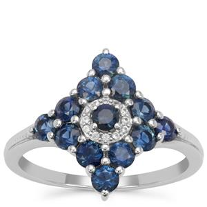 Australian Blue Sapphire Ring with White Zircon in 9K White Gold 1.40cts