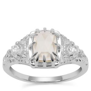 Rose Cut Serenite Ring with White Zircon in Sterling Silver 1.52cts