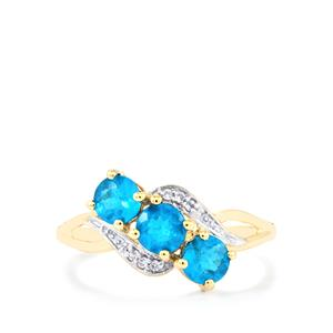 Neon Apatite Ring with White Zircon in 9K Gold 1.07cts