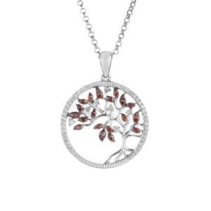 Cognac Diamond Pendant with White Diamond in Sterling Silver 0.51ct