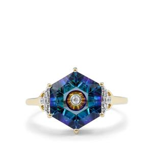 Lehrer TorusRing Mystic Topaz Ring with Diamond in 10K Gold 3.69cts
