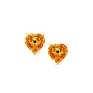 Lehrer TorusRing Rio Golden Citrine Earrings with Red Diamond in 10K Gold 2.54cts