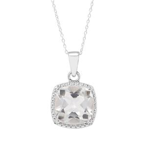 Optic Quartz Pendant Necklace in Sterling Silver 8cts