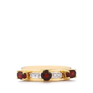 Burmese Red Spinel Set of 3 Stacker Rings with White Zircon in 9K Gold 1cts