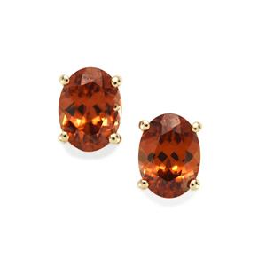 Zanzibar Sunburst Zircon Earrings  in 10k Gold 3.50cts