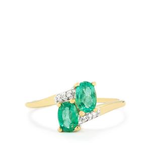 Zambian Emerald Ring with White Zircon in 10k Gold 0.86cts