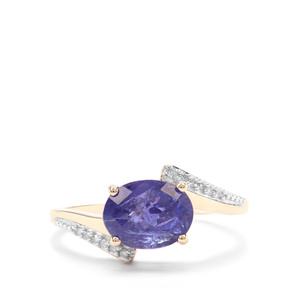 AAA Tanzanite Ring with White Diamond in 9K Gold 2.61cts