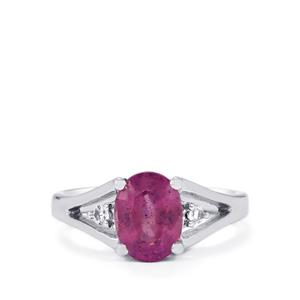 Ilakaka Hot Pink Sapphire Ring with White Topaz in Sterling Silver 2.68cts (F)