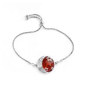 Baltic Cognac Amber (19mm) Crescent Moon & Stars Slider Bracelet in Sterling Silver