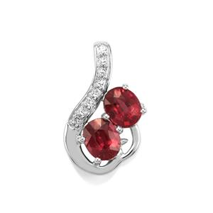 Malawi Garnet Pendant with White Topaz in Sterling Silver 1.67cts