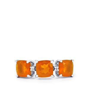 AA Orange American Fire Opal & White Topaz Sterling Silver Ring ATGW 2.13cts