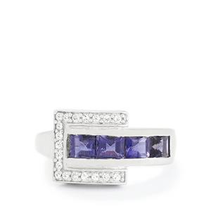 Bengal Iolite & White Topaz Sterling Silver Ring ATGW 1.29cts