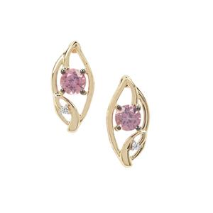 Pink Spinel Earrings with White Zircon in 9K Gold 0.71ct