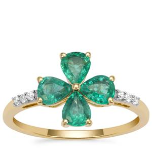 Kafubu Emerald Ring with White Zircon in 9K Gold 1.15cts