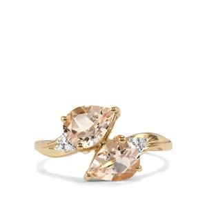 Alto Ligonha Morganite Ring with Diamond in 9K Gold 1.80cts